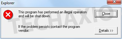 Illegal Operation dialog box