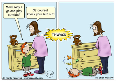 Knock yourself out funny cartoon